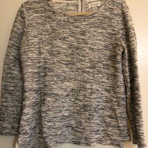 Black/Grey/White heathered sweater with zipper